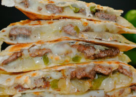 Beef Tips and Cheese Quesadillas