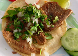 Beef Tongue Taco Flour Tortilla)