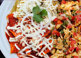 Chilaquiles a la Mexicana (Green or Red Sauce)