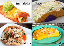 Lunch Combination 1 One enchilada and choice of one taco and one chalupa or one tamal