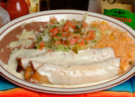 Lunch Combination 2 One cheese and one chicken enchilada and salad
