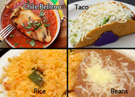 Lunch Combination 4 One chile relleno and one taco