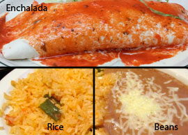 Lunch Combination 6 One chicken or beef enchilada