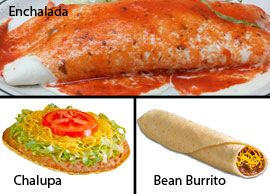 Vegetarian 1 One Bean Burrito, One Cheese Enchilada and One Bean and Cheese Chalupa