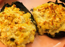 Vegetarian 3 Two Chiles Poblanos stuffed with potatoes and cheese