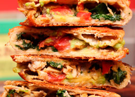 Vegetarian 5 One Quesadilla stuffed with mushrooms, cheese, lettuce and tomatoes