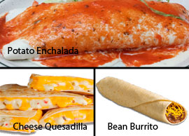 Vegetarian 7 One Bean Burrito, One Potato Enchilada and One Cheese Quesadilla
