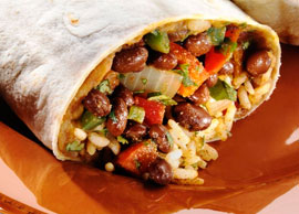 Vegetarian Lunch Veggie Fajita Burrito
